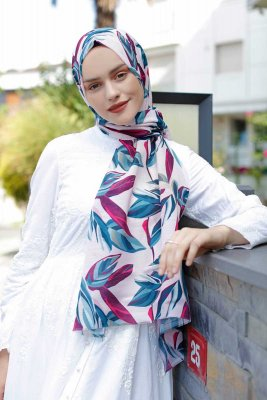 Beyza - Pink & Blue Patterned Hijab - Sal Evi