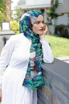 Kader - Green Patterned Hijab - Sal Evi