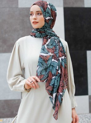 Seyyal - Green & Pink Patterned Hijab - Sal Evi