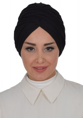 Fiona - Black Cotton Turban - Ayse Turban