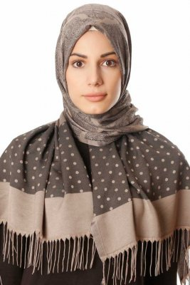 Alev - Taupe Patterned Hijab