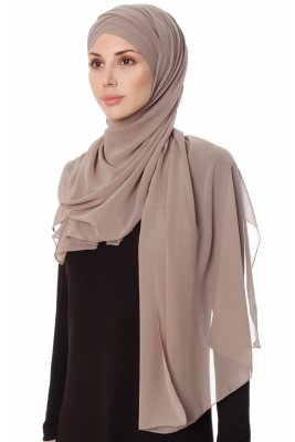 Mehtap - Taupe Practical One Piece Chiffon Hijab