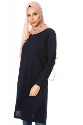 Sarah - Navy Blue Tunic - Miss Halima