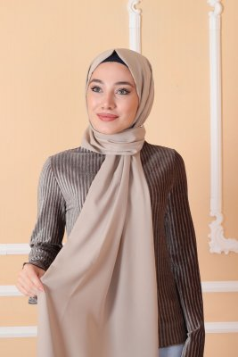 Zahra - Taupe Crepe Hijab - Mirach