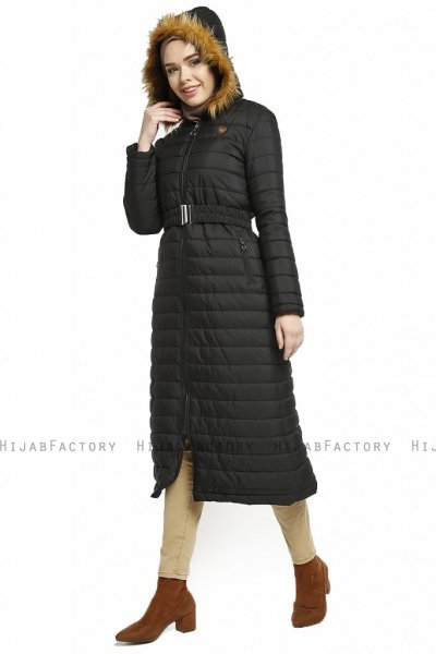 Yeliz - Black Long Jacket With Hood