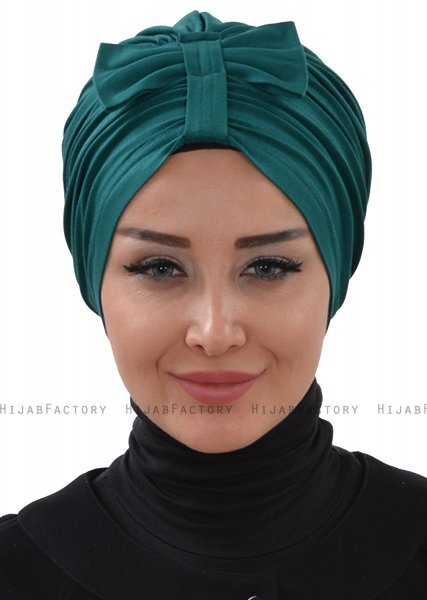 Agnes - Dark Green Cotton Turban - Ayse Turban