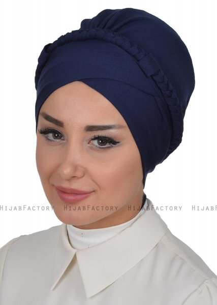 Olivia - Navy Blue Cotton Turban - Ayse Turban