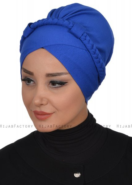 Olivia - Blue Cotton Turban - Ayse Turban