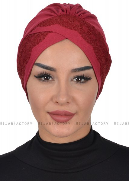 Molly - Bordeaux Lace Cotton Turban