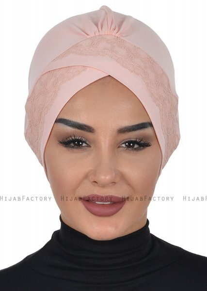 Molly - Dusty Pink Lace Cotton Turban