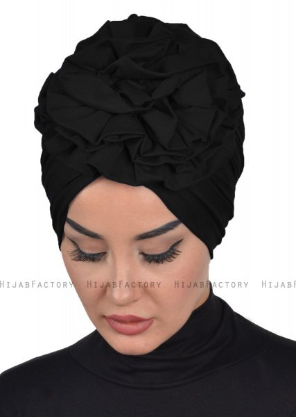 Kerstin - Black Cotton Turban - Ayse Turban