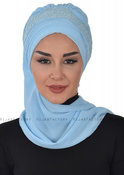 Celine - Light Blue Chiffon Turban - Ayse Turban