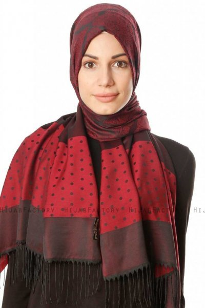 Alev - Bordeaux Patterned Hijab