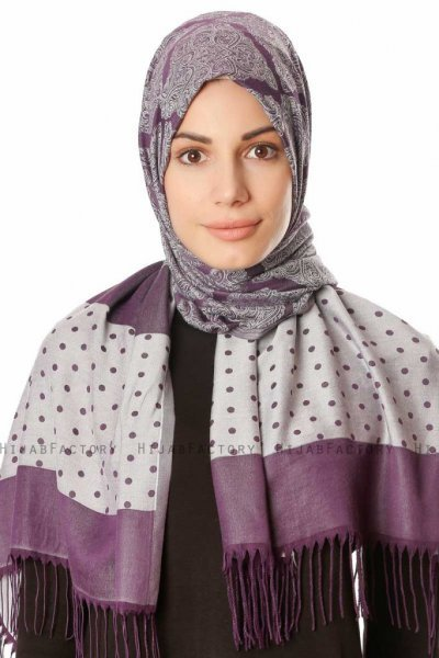 Alev - Purple Patterned Hijab