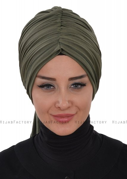 Amy - Khaki Cotton Turban - Ayse Turban