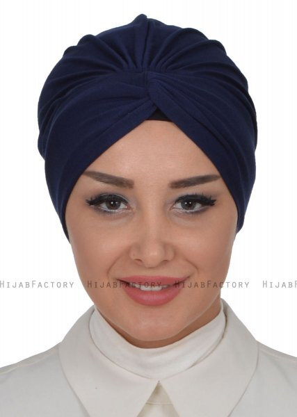 Astrid - Navy Blue Cotton Turban - Ayse Turban