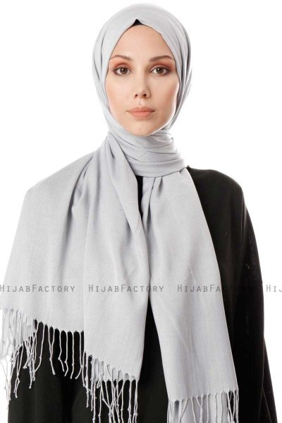 Aysel - Light Grey Pashmina Hijab - Gülsoy
