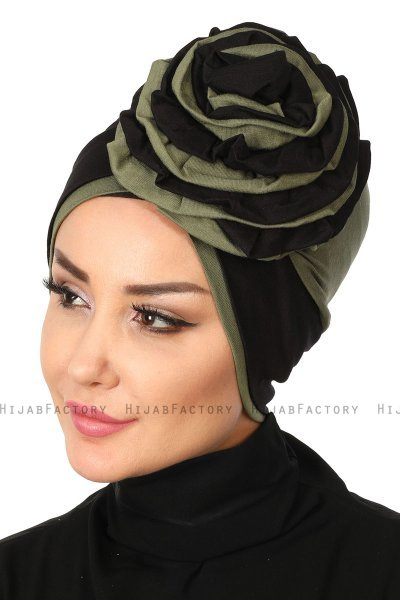 Clara - Black & Khaki Cotton Turban