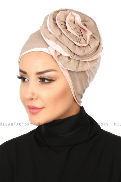 Clara - Taupe & Dusty Pink Cotton Turban
