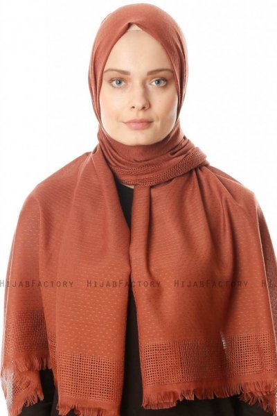 Ebru - Brick Red Cotton Hijab