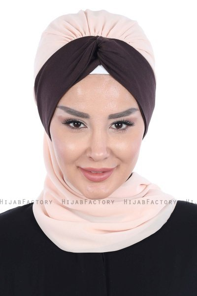 Gill - Beige & Brown Chiffon Turban