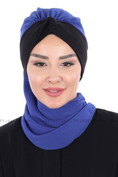 Gill - Blue & Black Chiffon Turban