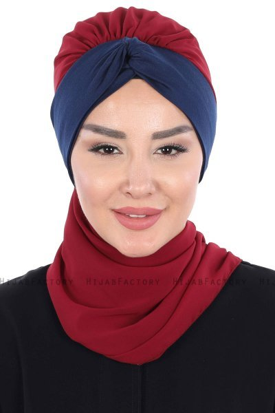 Gill - Bordeaux & Navy Blue Chiffon Turban
