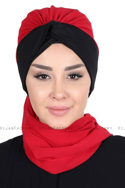 Gill - Red & Black Chiffon Turban