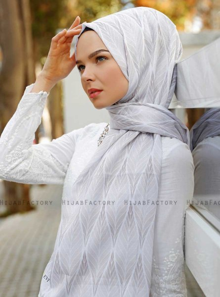 Grey Leaf Patterned Hijab - Sal Evi