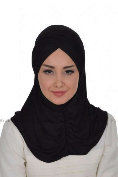 Hilda - Black Cotton Hijab