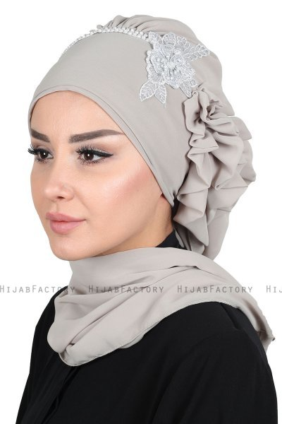 Hillevi - Taupe Chiffon Instant Turban