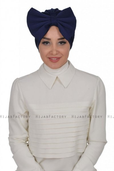 Julia - Navy Blue Cotton Turban - Ayse Turban