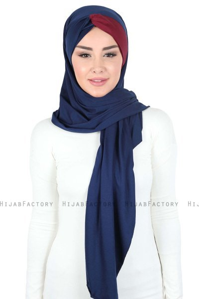 Mikaela - Navy Blue & Bordeaux Practical Cotton Hijab
