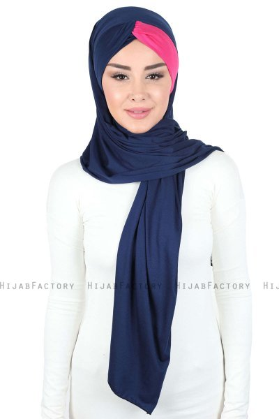 Mikaela - Navy Blue & Fuchsia Practical Cotton Hijab