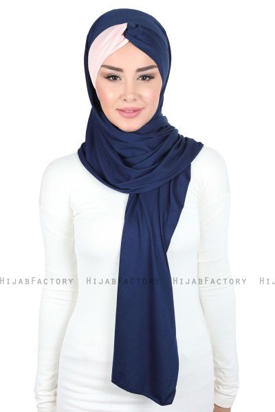Mikaela - Navy Blue & Dusty Pink Practical Cotton Hijab