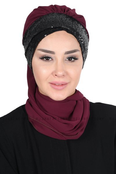 Olga - Plum & Black Chiffon Turban