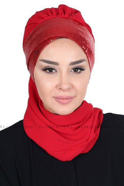 Olga - Red & Red Chiffon Turban