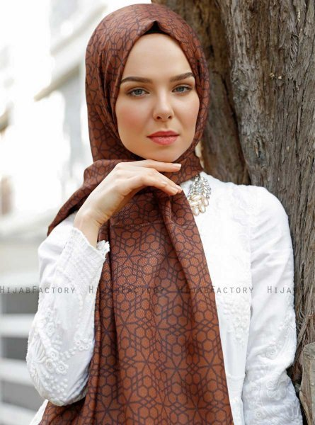 Pareesa - Brown Patterned Hijab - Sal Evi