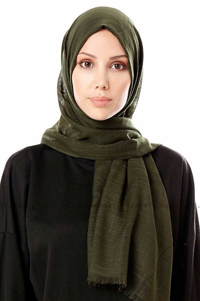Selma - Dark Green Plain Color Hijab - Gülsoy