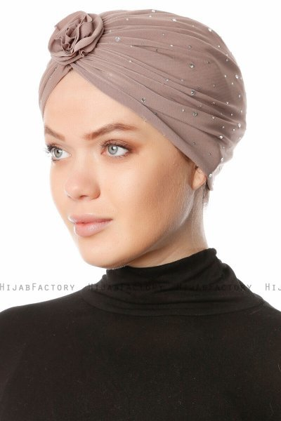 Shereen - Light Taupe Crepe Chiffon Turban - Sehr-i Sal
