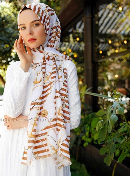 Ulima - Brown Patterned Hijab - Sal Evi