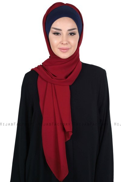 Vera - Navy Blue & Bordeaux Practical Chiffon Hijab