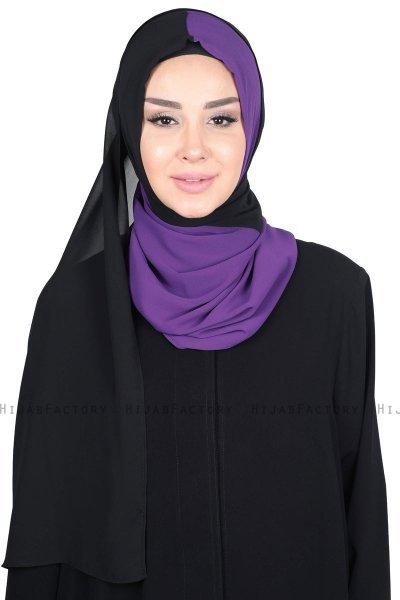 Ylva - Purple & Black Practical Chiffon Hijab